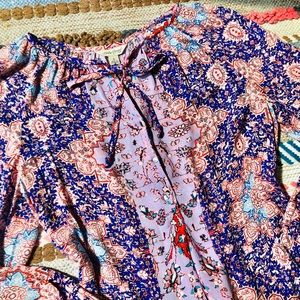 Lucky Brand | Boho Keyhole&Button Tie Blouse